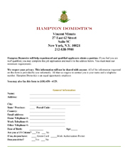 Hampton Domestics Employment Application